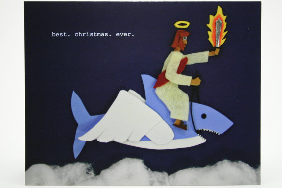 jesus on a flying shark card
