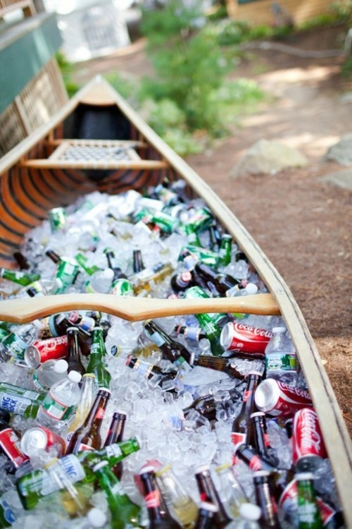 canoe with beers and soda