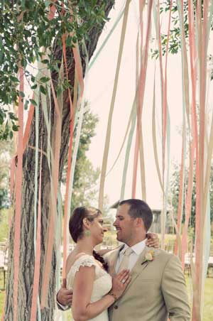 coloured wedding streamers