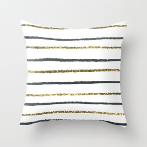 glitter striped pillow
