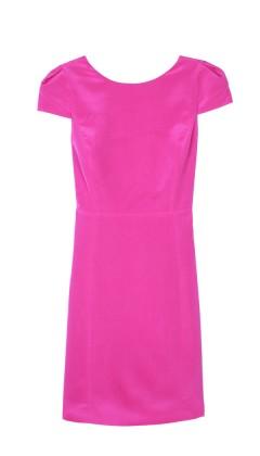 solid pink silk cap sleeve dress